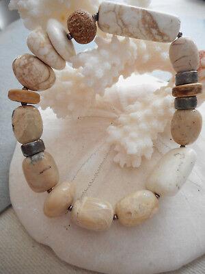 (Silpada Sterling African Opal Howlite Coconut Shell Stretch Bracelet  B1655 MM51)