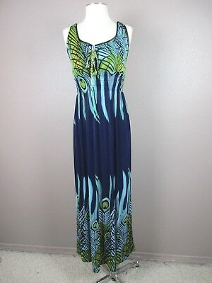 New Ace fashion T345 Size L Women's Blue Round Neck Cami Sleeveless Long Dress