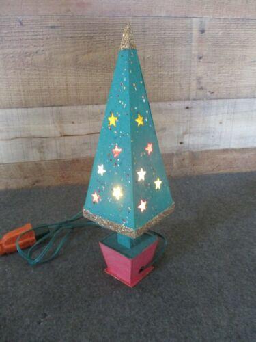 """Vintage Cardboard Putz Lighted Christmas Tree 11-1/2"""" Japan"""