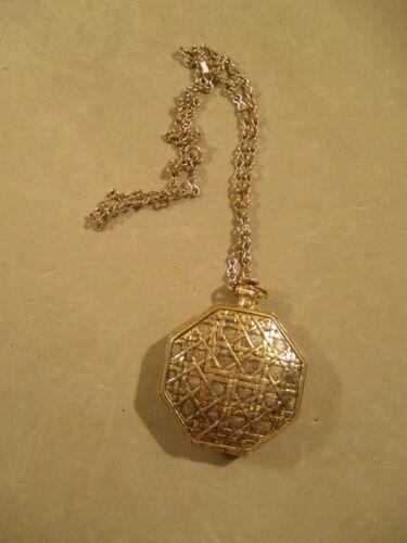 Vintage Perfumed Powder Compact Pendant Necklace