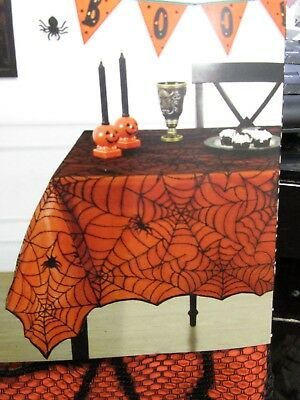 Black Fabric Tablecloth (Halloween 2pc Spider Web Orange Black Fabric Tablecloth ALL)