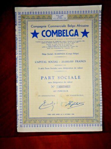 Combelga ,Belgian Congo stock certificate  ,Kabinda 1952