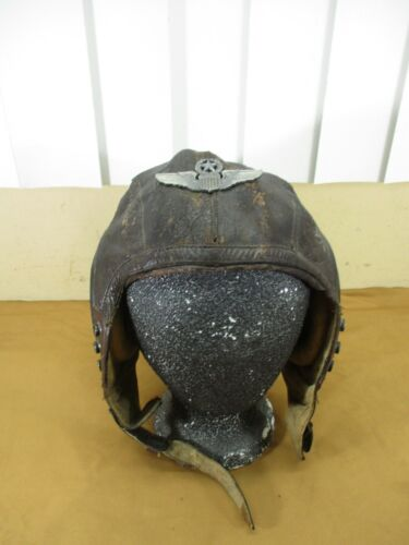 Vtg US Army Air Force A-11 Leather Pilots Flight Flying Helmet w/ Wings  Large