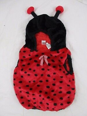 Lady Bug Infant Costume Halloween Vest 24 Mo. Red Black Polka Dot Hooded HA7b - Lady Bug Infant Costume