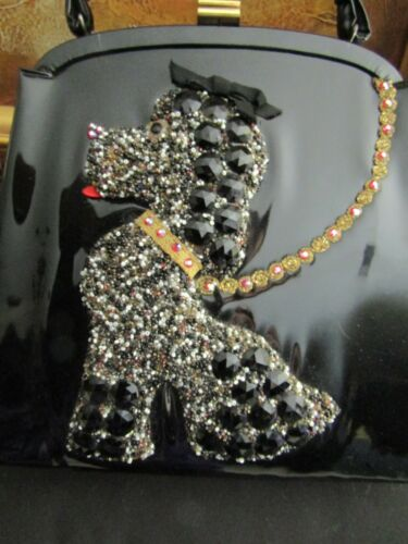 Vintage Jolles Poodle Bag Black Patent Leather Jeweled & STUNNING! MINT!