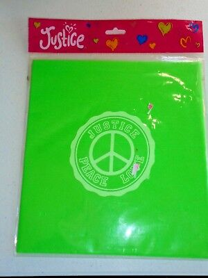 JUSTICE Green Stretch Fabric Book Cover Fits Up to 8 x 10 NEW