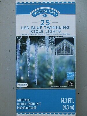 HOLIDAY TIME 25 LED BLUE TWINKLING ICICLE LIGHTS - NEW