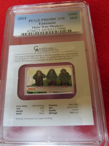 2014 1000 Shilling Tanzania Three Wise Monkeys 1oz .999 Silver PCGS PR69 DCAM