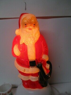 Vintage Blow Mold Christmas Light - EMPIRE Santa Standing w Toy Sack