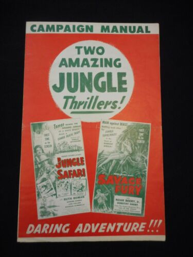JUNGLE SAFARI + SAVAGE FURY R56 Serial Pressbook Noah Beery Queen Call of the