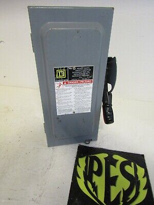 Square D H221n Fusible Heavy Duty Safety Switch Disconnect 30 Amp 2p 240v
