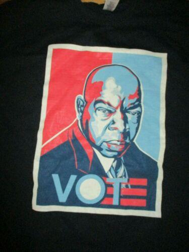"Black JOHN LEWIS ""Vote"" Obama Shepard Fairey Style Logo T Shirt XL"