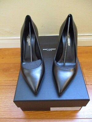 New Saint Laurent Black Leather Pumps size 7.5/ 37.5 Made in Italy