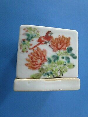 Vintage Chinese Hand Painted Ceramic Cricket Box