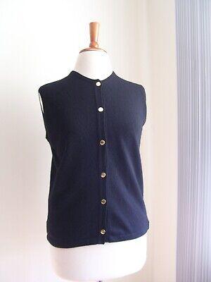 RARE VTG BALLANTYNE Scotland 100% Cashmere BLACK Sleeveless Cardigan SWEATER M