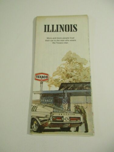 Vintage Texaco 1974 Illinois State Highway Travel Road Map-Box 4