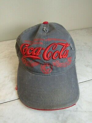 Coca-Cola Gray/Red Logo Distressed Cotton Baseball Hat Adjustable
