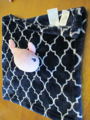 """HB Hudson Baby Plush  Lovey Security Blanket Pink White blue  whale 14"""" x 14"""""""