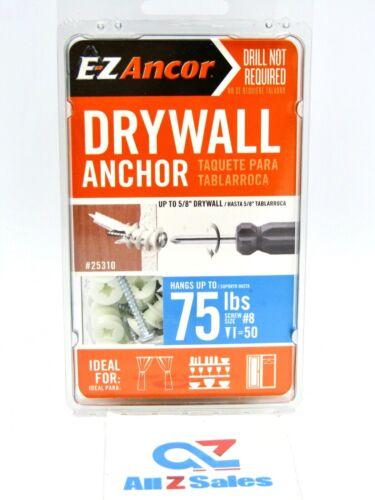 ITW Brands E-Z Ancor 25310 50 pack 75lb Self Drilling Drywall Anchor - NIB