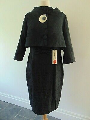 Lindy Bop Maybelle Black Shift Dress + Jacket Jackie O Style Size 18 New + Tags