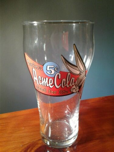 """VINTAGE 6"""" TALL- BUGS BUNNY ACME COLA. 5 CENTS - LOONEY TUNES DRINKING GLASS"""