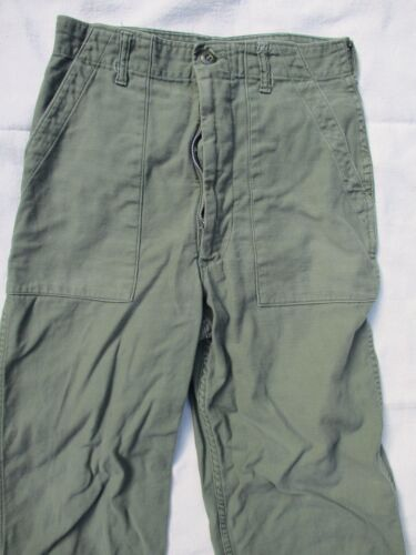 Blue Bell OG 107 vintage olive green cotton sateen army military pants 28 30
