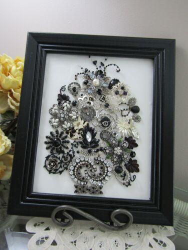 Jewelry Art;Vintage to Now. Black and Rhinestone Arrangement. Framed 8x10