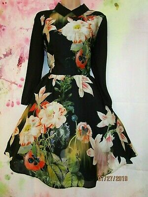 BNWT TED BAKER 'Ise' Opulent Bloom Floral Evening Dress 12 (Ted Size 3)