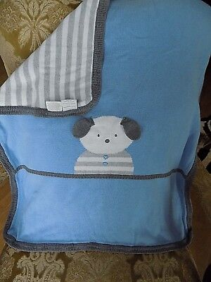 First Impressions Blue Brown Stripe Knit Puppy Dog Baby Blanket