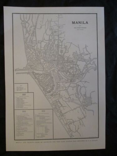 1899 Spanish American War Print - Map of Manila & Surrounding Area & Detailed