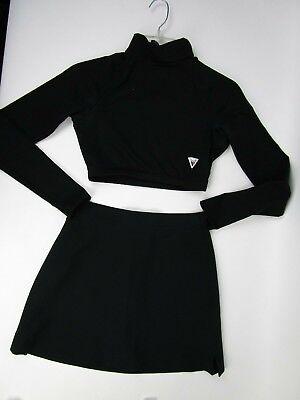 Black Cheerleader Skirt (Sexy All Black Cheerleader Uniform Outfit Varsity 34 Crop Top Team Wear 25)