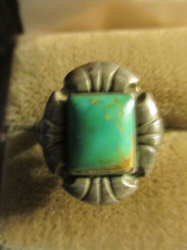Vintage Estate Old Pawn Southwest Sterling Silver Green Turquoise Ring Size 7