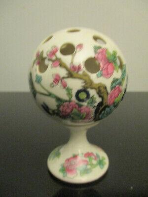 Vintage Indian Tree Limoges France Porcelain Globe Flower Frog Hat Pin Holder