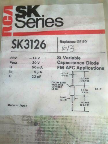 RCA SK3126 VARACTOR DIODE 22.0pf at 4V REPL NTE613, ECG613 sk