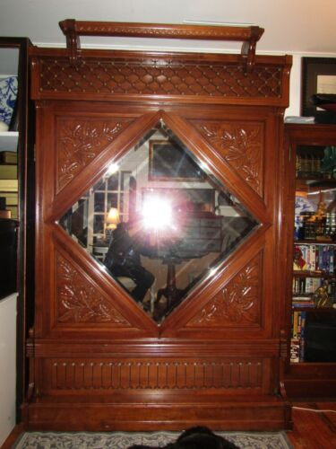 Antique EXTRAORDINARY Oak Carved Murphy Bed Full Size,Beautiful carving, RARE!