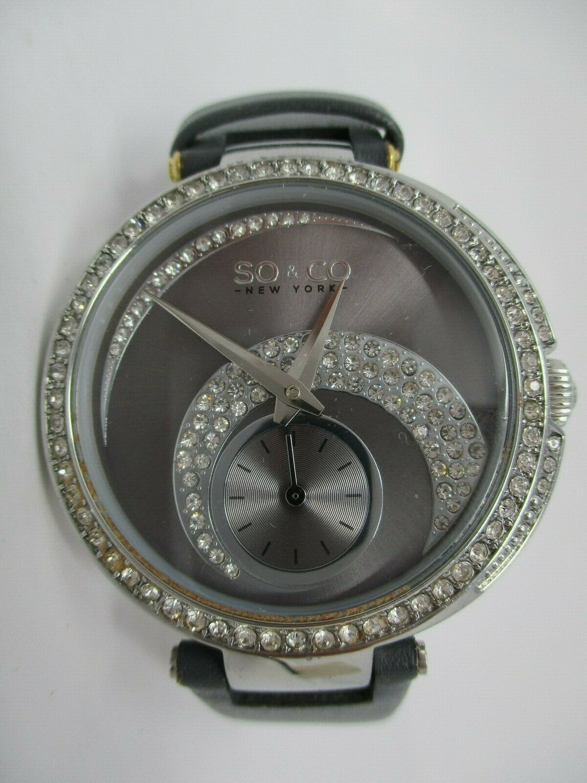 So & Co Womens Watch Grey Leather Band With Crystal Accents