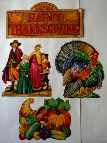 4 - Vintage Thanksgiving die cut outs Turkey, Pilgrim Family, Horn of Plenty