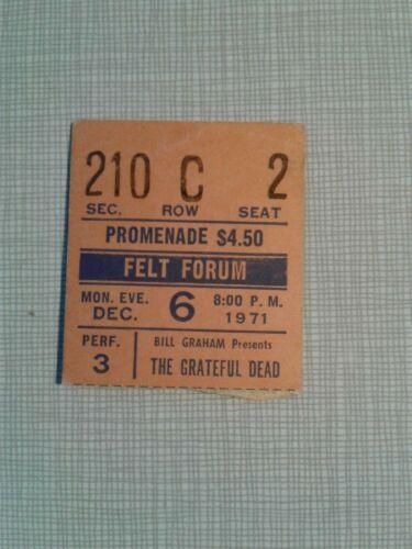 Vintage 1971 Grateful Dead Ticket Stub