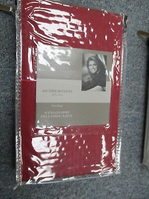 Kathy Ireland 400 Thread Count 100% Cotton Stripe PILLOW CASES RUBY RED STANDARD