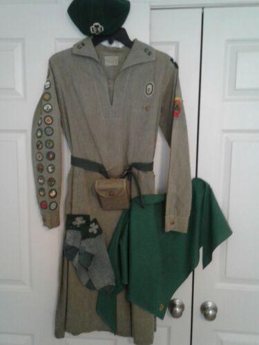 VTG 1930s Complete Girl Scout Uniform-Dress/Scarf/Beret/Belt/Socks/1st Aid Pouch