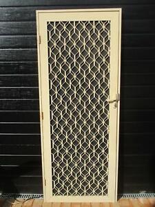 Cream Aluminium Security Door in Frame