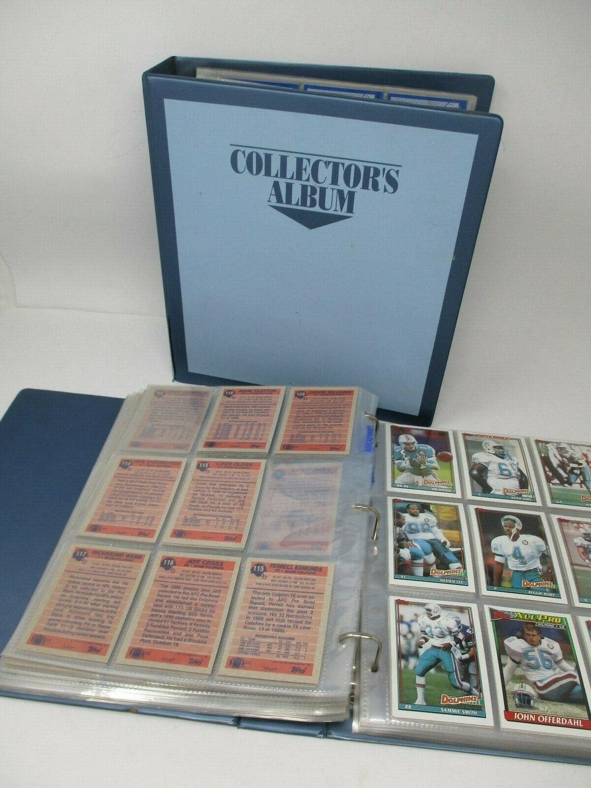Huge Lot of 1990's Football Cards In 2 Collector Albums Topps- NFL Pro- Score