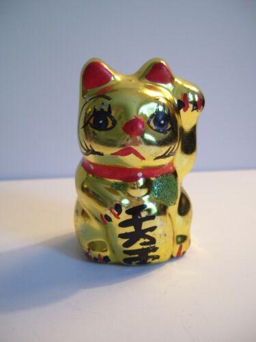 Vintage Gold Colored Ceramic Japanese Maneki Neko Lucky Cat 2 3/4
