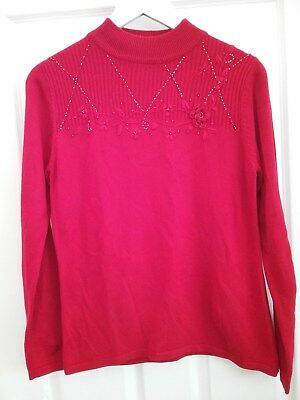 BM Womens Red Embelished Christmas Jumper size Small 8/10 Excellent condition