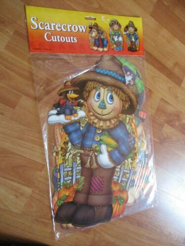 Thanksgiving Autumn 3 Scarecrow Cutouts Decorations 2005 Beistle 2 Sided NOS