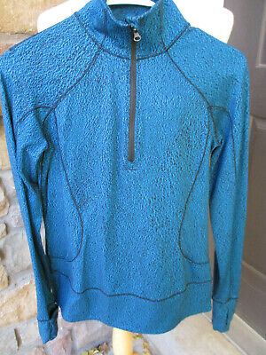 Lululemon Women's Half Zip up Athletic Knit Sweater Top Jacket Turquoise Size 6