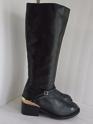 TOPSHOP knee high fashion boots, black with gold trim SZ 39 - Black Boots With Gold Trim
