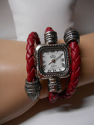 Dark Red Face (Ladies Fashion Watch ~ Dark Red Braided Coiled Leather Band ~ Square White)