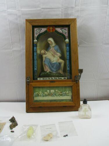 Antique Catholic Last Rites Sick Call 1909 Extreme Unction shadow box