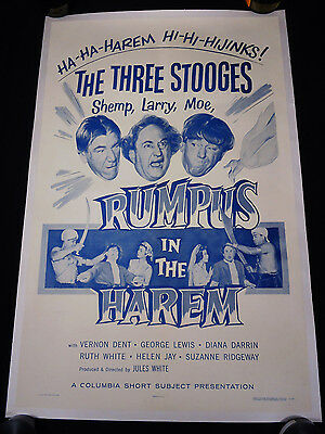 RUMPUS IN THE HAREM 1956 * THREE STOOGES * ONE SHEET * 3 STOOGES * NEAR MINT!!